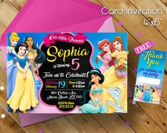 Disney Princess Invitation, Invitation, Princesas de Disney, Cumpleaños de Princesas, Disney Princess, Disney Princess Party, Princess,