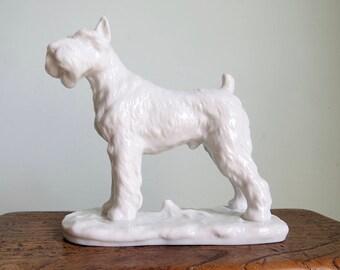 regal dog statue, terrier dog, white figurine, porcelain dog, dog figurine, dog decor, bookshelf decor,white statue,white dog,dog lover gift