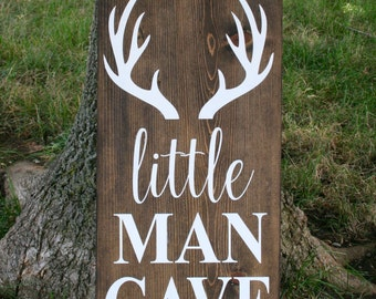 Little Man Cave wood sign with antlers, little man cave, nursery decor, little man cave sign, woodland nursery, wall art, baby shower gift