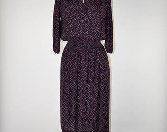 80s black polka dot dress / 1980s hot pink dotted dress / vintage rayon dress