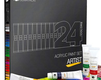 Acrylic Paint Set 24x12ml (0.4 fl oz) Artist Quality Heavy Body Colors For Any Type Of Surfaces Great Gift for Professional Artist Student
