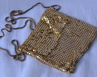 "eb2772 Gold Metal Mesh Evening Purse Bag 6"" x 5"" Magnetic Closure and Flap 21"" Strap Hidden"