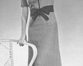Vintage 1930s Dress Leading Lady Crochet Pattern PDF 3912 Bust 36 Size M Medium 30s Art Deco