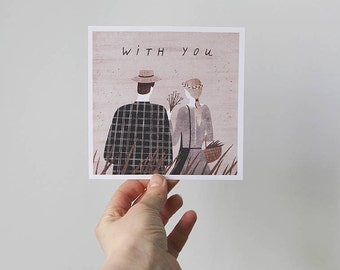 with you. postcard / romantic postcard / love postcard / square postcard