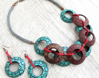 Chunky necklace statement Boho beaded necklace Polymer clay bijoux Bohemian jewelry Unusual jewelry set Drop earrings Unique necklace