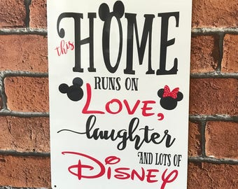 Disney Sign This Home Runs On Love and Laughter, Metal Sign, Aluminium, Gift Idea