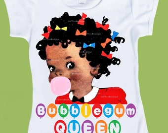 Bubblegum Queen, African American girl, School shirt, fitted t-shirt, dark skin,Birthday outfit, Plus Sizes to 4XL,ChiTownBoutique.etsy