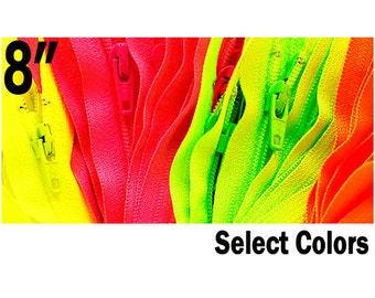 """Ten 8 """" NEON YKK Zippers -Colors # 3 Nylon Coil  - Select Your own Color (each color has 10 zippers)ZipperStop Wholesale Distributor YKK®"""
