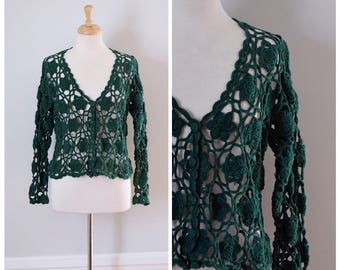 Vintage Sweater / Crochet Sweater / Lace Sweater / Open Weave / Floral Crochet / Cardigan / Green / Boho Sweater / Long Sleeve / Medium