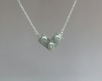 925 Sterling silver lego necklace -  Lego necklace - Lego block pendant - Lego jewelry - Silver lego pendant - Lego block pendant - Lego