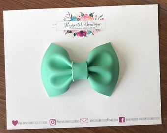 Mint faux leather fabric hair bow , headband