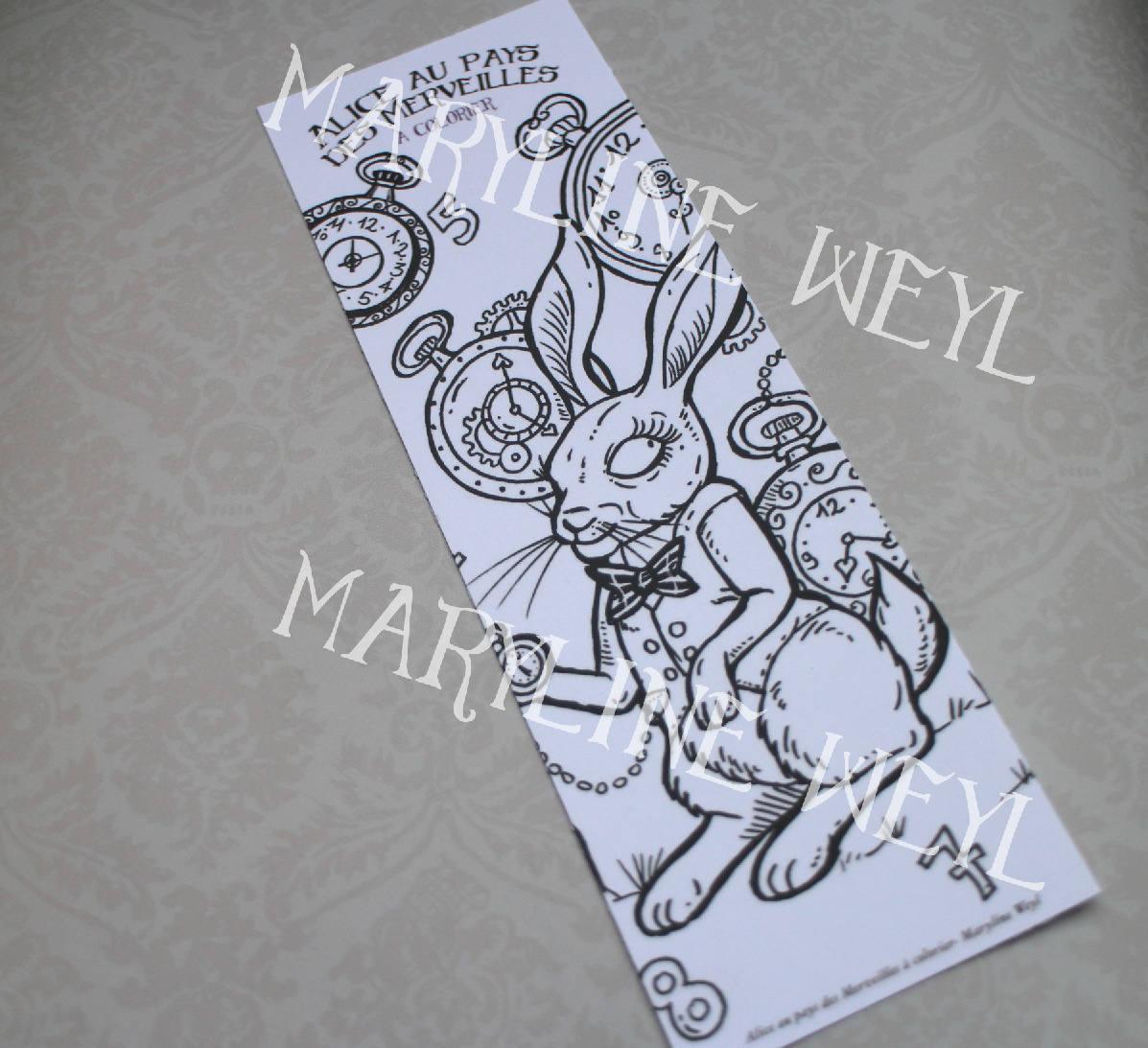 marque-page coloriage Alice au pays des Merveilles