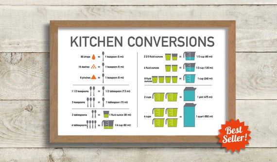 Kitchen Conversion Chart Cooking Art Print Recipe Conversion