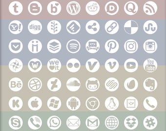 Social Media Icons, 72 logo designs, alpha transparency on white, round disc outline shape, vector & bitmap images