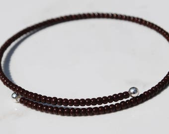 Stack bracelet with burnt umber beads
