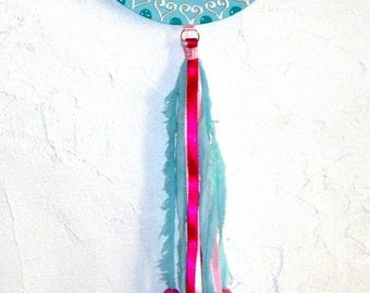 Dream catcher for BOMBAY flower turquoise pink child's room