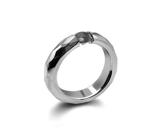 Black Onyx Tension Ring Hammered Stainless Steel Mounting