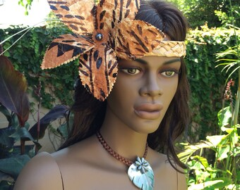 Tapa cloth flower headband