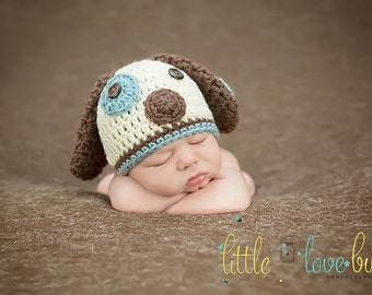 Newborn Puppy Costume  / Puppy Hat and Diaper Cover with Tail / Newborn Puppy Hat and Tail / Dog Hat with Tail / Custom Colors Welcome