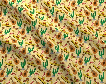 Fiesta Fabric - Cinco De Mayo By Sandityche - Mexican Holiday Sombrero Cactus Maracas Mexico Cotton Fabric By The Yard With Spoonflower