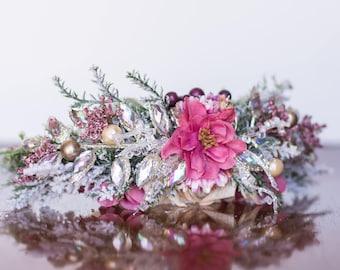 Holiday Flower Crown - Rustic Dusty Rose Halo - Flowergirl hairpiece - Winter Wedding - Newborn Prop - Wedding Crown - Floral Hairpiece