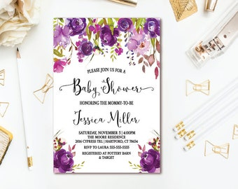 Purple Baby Shower Invitation - Watercolor Floral Girl Baby Shower - Printable Invites