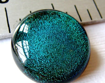 Dichroic Fused Glass Cabochon 19 mm Teal Green