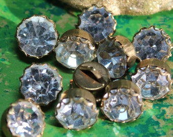 2 Vintage Brass Setting Clear Rhinestone Buttons