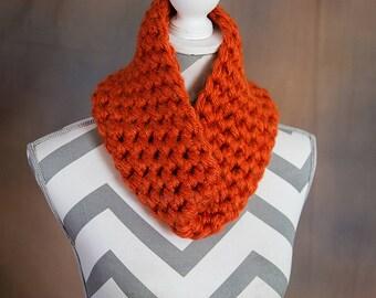 Burnt Orange Super Chunky Crochet Cowl