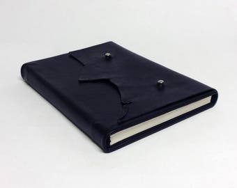 Handmade leather book with case, wedding guest book, writing journal, leather book, blue book cover, unique gift, 15 x 21 cm