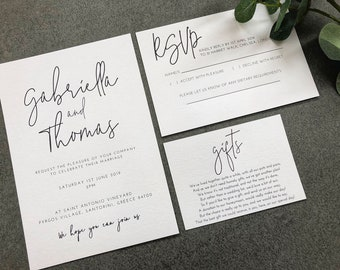 Gabriella modern calligraphy style wedding invitation, RSVP card and wish card SAMPLE