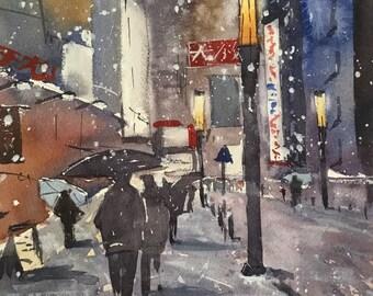 Original Watercolour Painting Art 'Tokyo Snow' by Elise De Silva