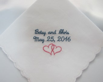 Embroidered Wedding Handkerchief for the from the Bride to her Groom