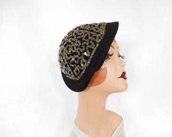 Black vintage hat, 1940s tilt with sequins
