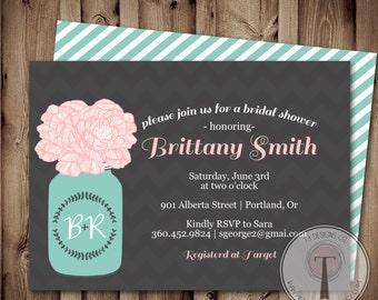 Mason Jar Invitation, Bridal Shower Invitation, Wedding Shower, Mason Jars, roses, flowers,  invite, Invitation