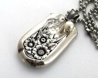 Silverware Necklace April 1950 Hammered Pendant Sunflower 3rd Anniversary Gift Kansas State Flower Birthday Vintage Hollow Handle Knife