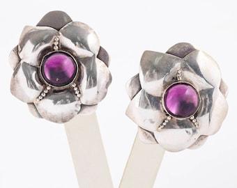 Vintage Earrings - Vintage Sterling Silver Amethyst Flower Earrings