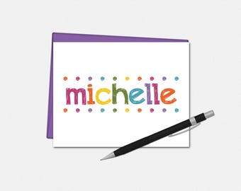 Personalized Note Cards - Custom Note Cards for Her - Colorful Lights Note Cards - Set of 10 Folded Note Cards - Stationery for Her