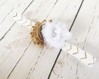 Gold and White Headband for Girl - Flower Girl Headband - Tulle Flower Easter Headband - Gold Flower Headband -Baby Headband -Girls Headband