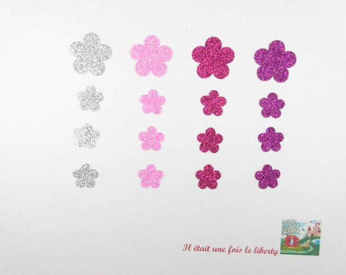 Applied fusing 16 flowers in pink glitter and silver patch fabrics iron flowers glitter fusible iron-on patterns