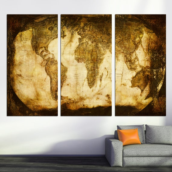 Rustic World Map 3 Panel Split Triptych Canvas Print Wall