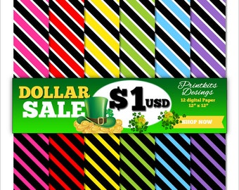 DOLLAR SALE! Instant Download - Diagonal Stripes Digital Scrapbook Paper, use of creative projects and crafts, invitations. PK_DP523