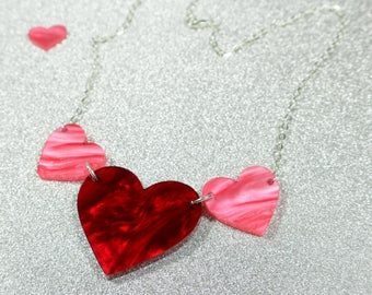 Valentines Triple Heart Necklace - Layered Laser Cut Acrylic