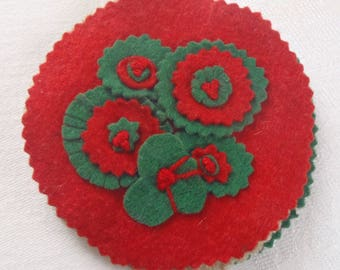 Vintage Felt Needle Book Red And Green