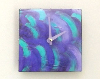Abstract Clock, Purple, Turquiose, Handmade Clock, Functional Art, Wall Clock, Modern Clock, Contemporary, Home Decor