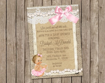 Lace and Pearls Baby Shower Invitation- printable 5x7