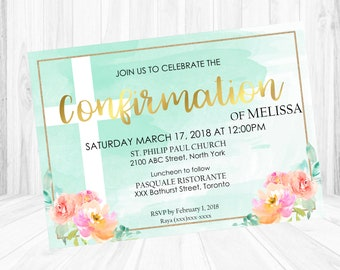 Confirmation invite etsy mint floral confirmation invitation digital file stopboris