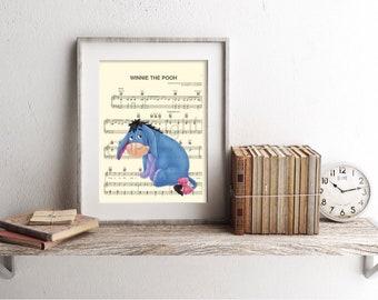 Winnie the Pooh Eeyore Sheet Music Art Print