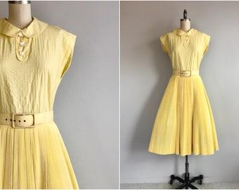 Vintage 50s Dress / 1950s Pat Premo Yellow Cotton Sunburst Pleat Circle Skirt Dress with Peter Pan Collar and Belt