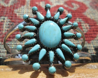 Native American Turquoise and Sterling Petit point  Bracelet